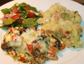 Weeknight Wonder: Baked Pesto Chicken with Heavenly Potato Green Pepper Hash!