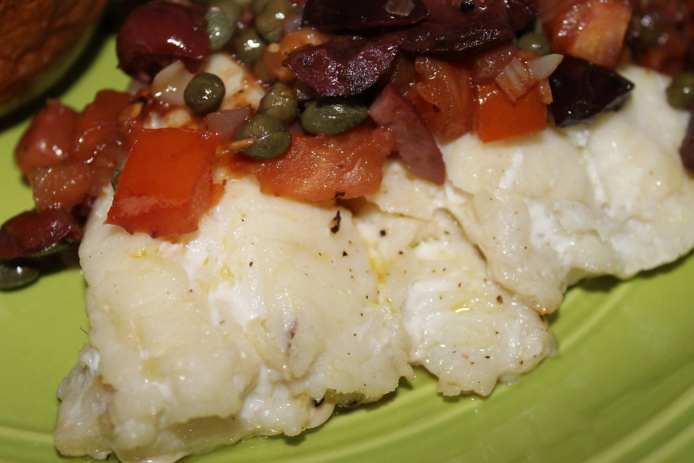 Baked Cod with Tomato Olive Caper Tapanade.JPG