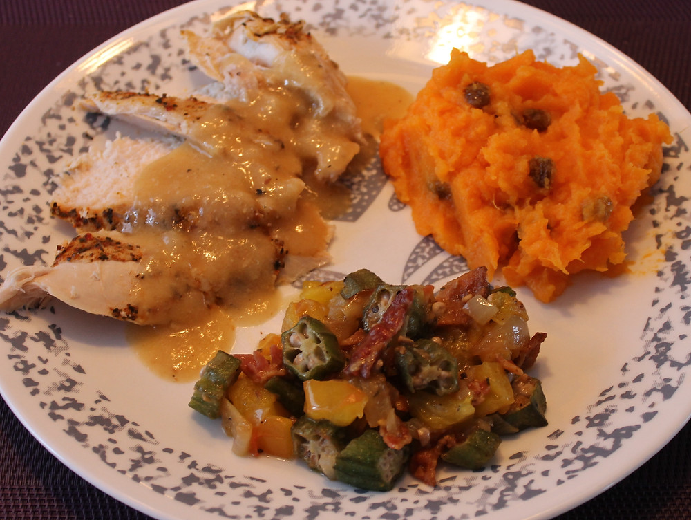 Cajun Spiced Roasted Turkey Breastm Southern Style Sweet Potato, Okra Heirloom T