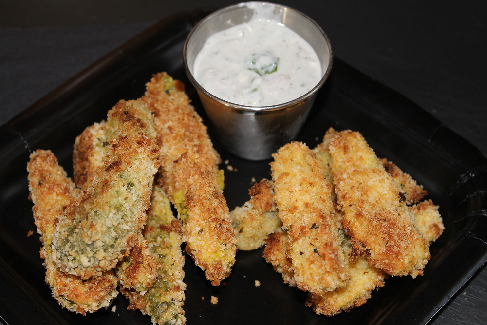 Oven Fried Dill Pickle Spears and Zucchini Sticks with Buttermilk Blue Cheese Di