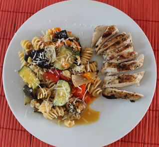 Supper Tonight: Roasted Veggie Ratatouille and Pasta with Grilled Greek Chicken Breasts!