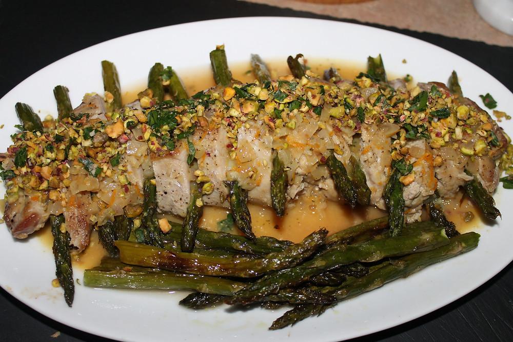 Pork Tenderloin with Roasted Asparagus and Warm Citrus Sauce.JPG
