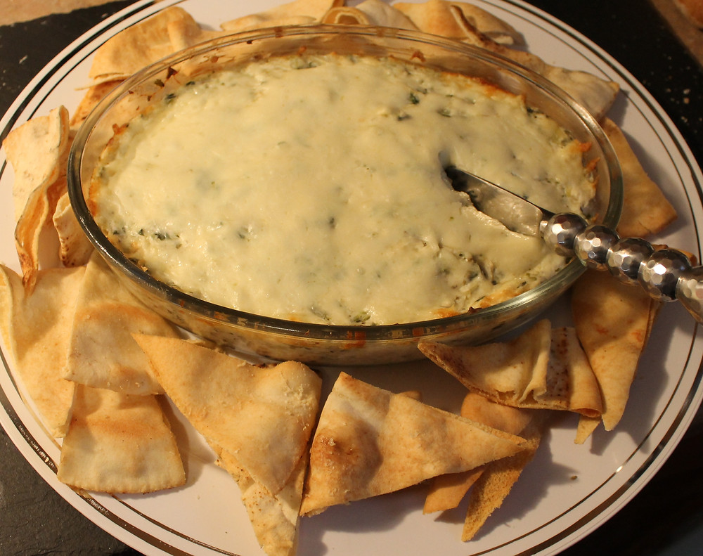 Hot Artichoke Dip with Homemade Pita Chips.JPG