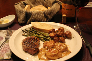 Date Night Surf n' Turf: Grilled Beef Tenderloin & Scallops in Chorizo Bourbon Cream Sauce.