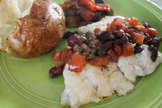 Baked Cod with Warm Caper Tomato Tapanade and Baked Potato....Simple Yet Elegant!