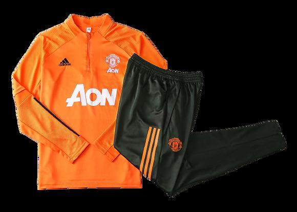 Manchester United Adidas Orange & Black Tracksuit 2020/21
