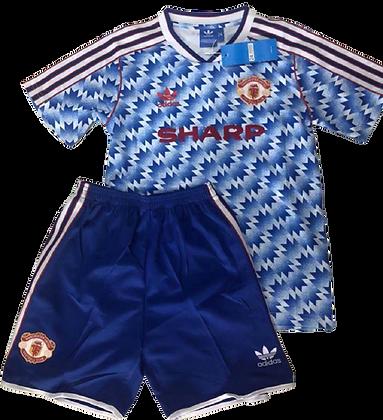 Manchester United Retro Premier League Away Kids Kit 1990/92
