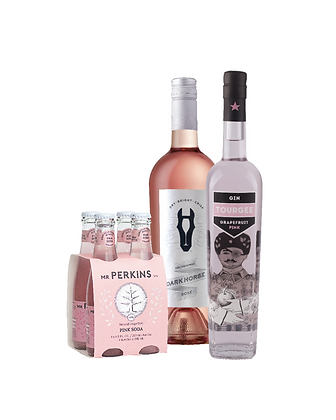 Pack / 1 Gin Tourgee Pink, 1 Dark Horse Rosé, 1 Mr. Perkins Pink Soda 4 Pack