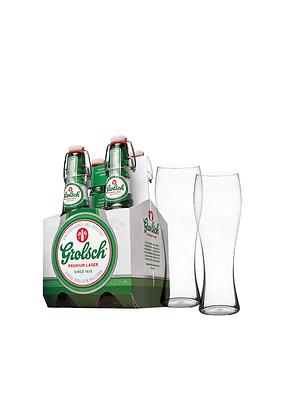 Pack / 1 Grolsch 4 Pack, 2 Vasos Cerveceros