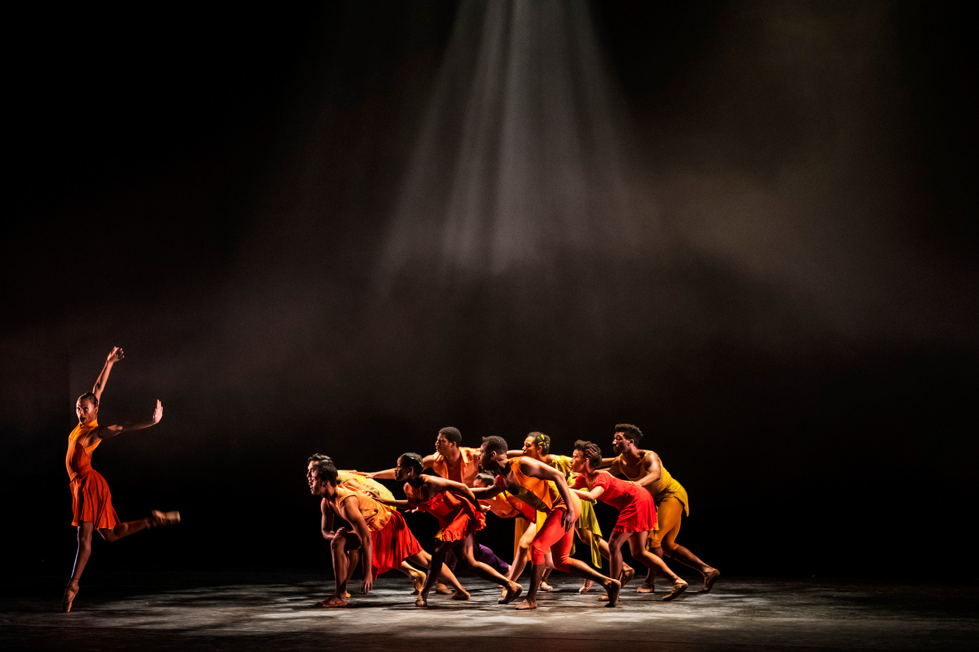 """Daphne Lee of the Dance Theatre of Harlem, left, strikes a pose as she rehearses with her fellow Dance Theatre of Harlem dancers for their performance of """"Balamouk"""" for their upcoming collaborative show with the Pittsburgh Ballet Theatre  during a dress rehearsal, Wednesday, March 13, 2019, at the August Wilson Cultural Center in Downtown."""