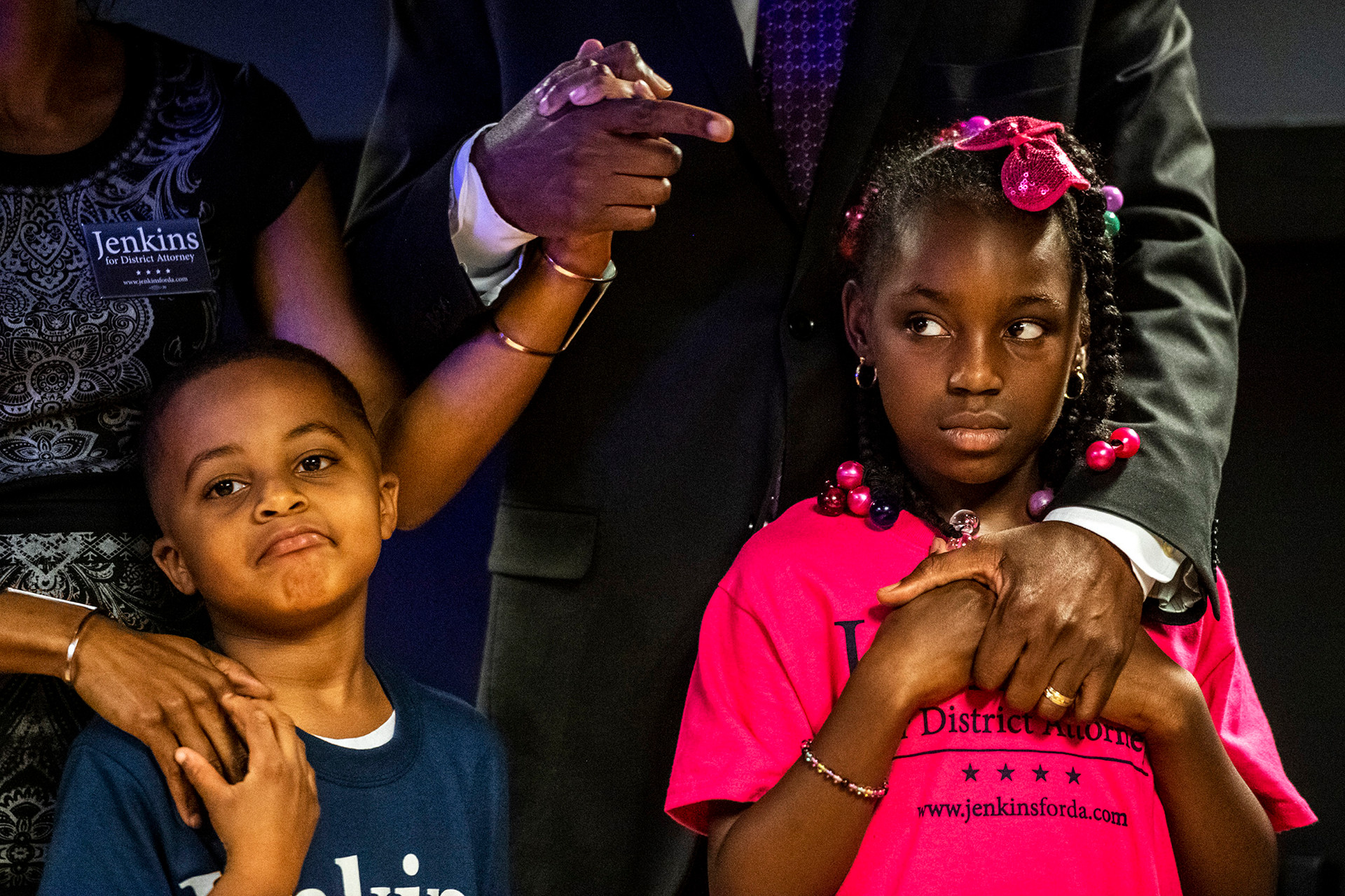 Turahn Jenkin's kids Turahn Jenkins Jr., left, and Legend Jenkins, right, listen as their father gives his concession speech to supporters at his election night party, Tuesday, May 21, 2019, at Sugar and Smoke in Bloomfield. Turahn Jenkins candidate for Allegheny County District Attorney was challenging incumbent Stephen A. Zappala Jr. who had not faced a primary opponent since 1999.
