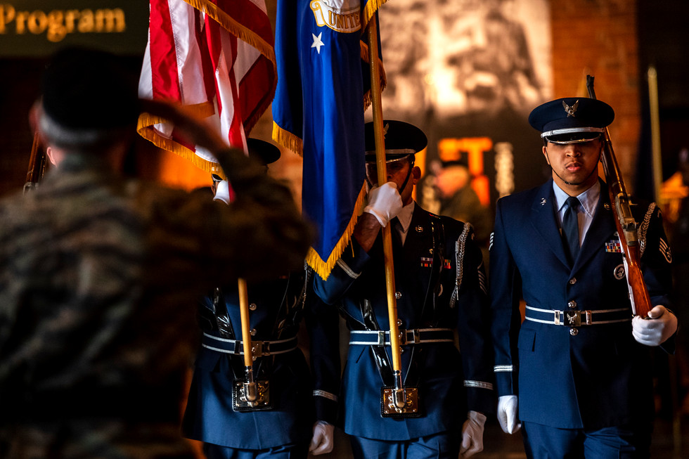 John Weinheimer Vice President of Vietnam Veterans Inc., left, salutes the Color Guard during the opening of the Vietnam War exhibit, Saturday, April 13, 2019, at the Heinz History Center in the Strip District. The Heinz History Center partnered with the New York Historical Society for the Vietnam War exhibition, which runs through September 2019. The exhibition looks at Western Pennsylvania's role and impact on the Vietnam War and features the stories of local residents who served in combat, support services, and participated in the anti-war movement.