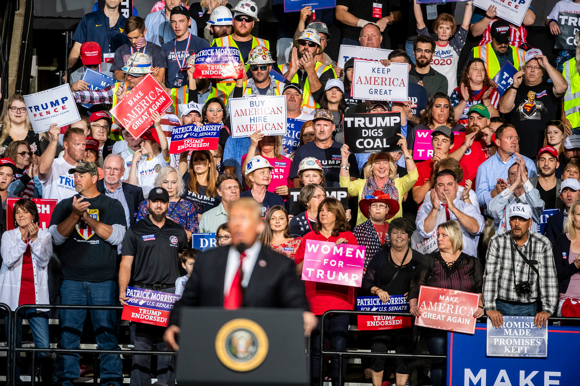 President Donald Trump speaks to supporters at his Trump MAGA rally in support of Patrick Morrisey for US. Senate at Wesbanco Arena on Saturday September 29, 2018, in Wheeling, Wv.