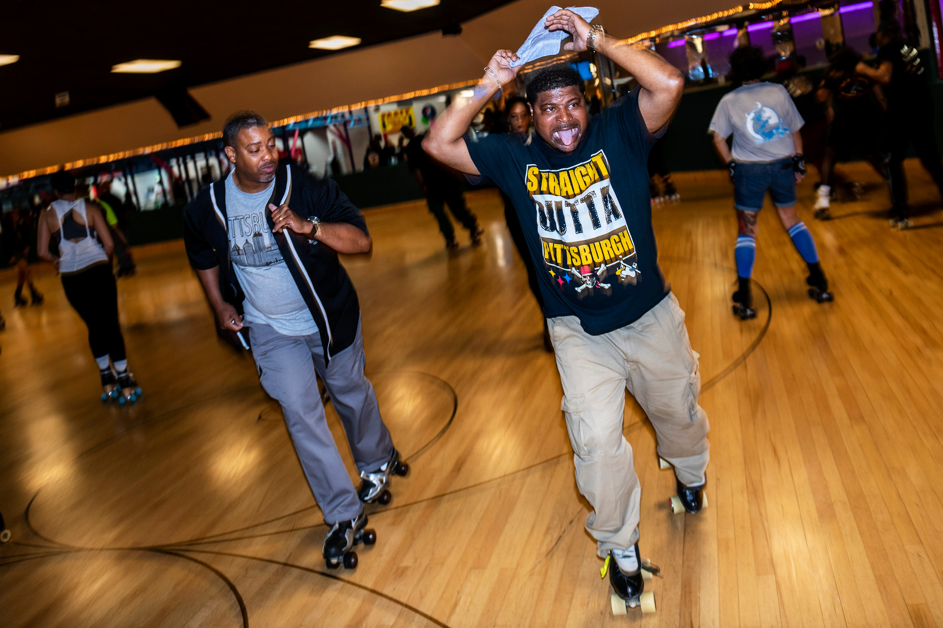 Tom Gross, of Homewood, left, and Dion Sims, of Homewood, right,  skate backwards, a signature Pittsburgh skate style, while skating at the Pittsburgh Steel City Rollers annual Spring Bling Skate Jam, Saturday, May 18, 2019, at Youngstown Skates in Youngstown Oh. The annual skate jam attracts skaters from various parts of the country.