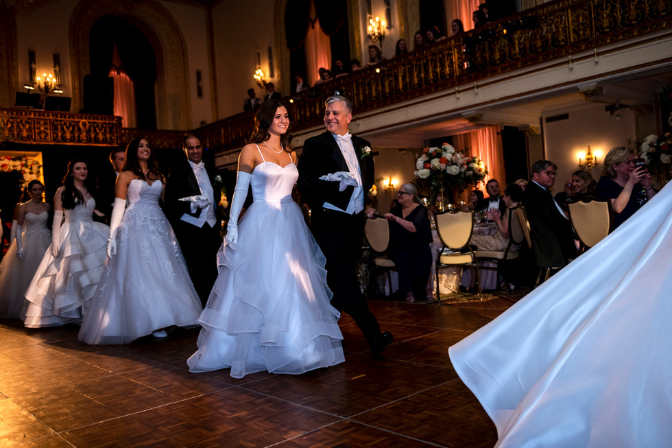 Sophia Isabelle McMahon is led by her father Rodrick Owen McMahon during the Waltz of the Court at the 93rd Cinderella Ball, Saturday, Jan. 26, 2019, at the Omni William Penn Hotel in Downtown.