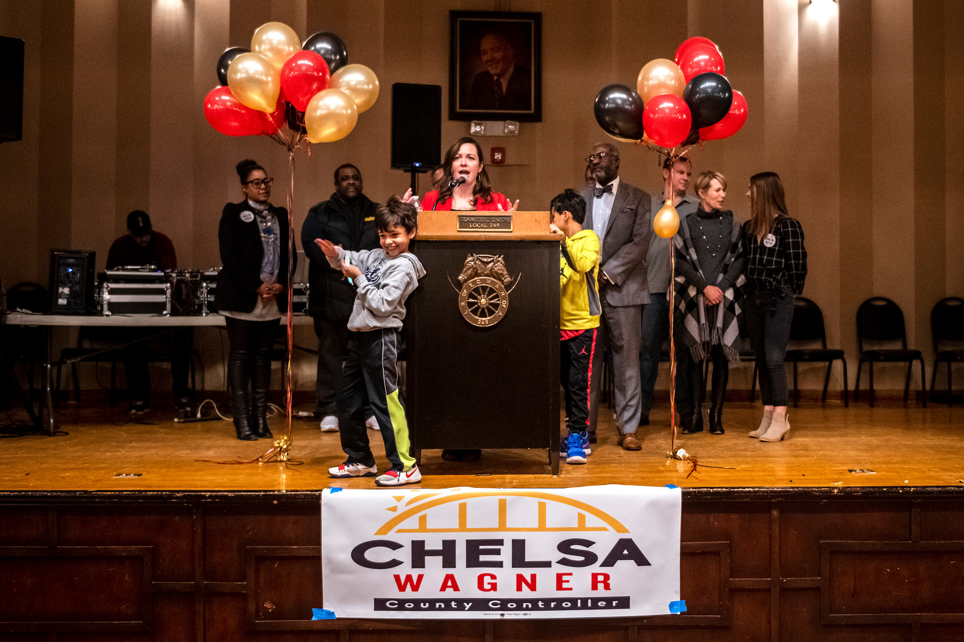 Chelsa Wagner Allegheny County Controller speaks to supporters during her re-election campaign launch party for Allegheny County Controller while surrounded by her family, Wednesday, Jan. 16, 2019, at Teamster Temple in Lawrenceville.