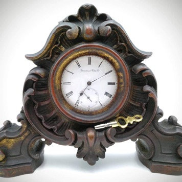 IWC Internacional Watch Company (1902-1907) desk clock in amazing carved wood