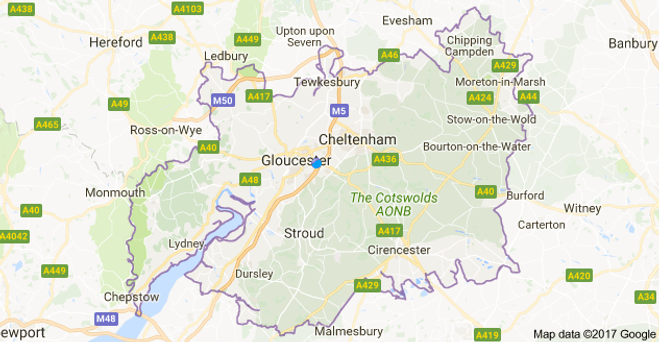 Locksmiths Gloucester Area Covered Map