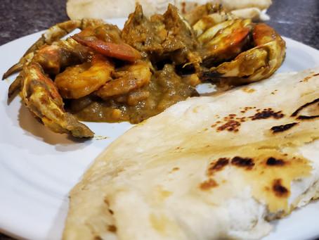Curry Crab and Shrimp Roti