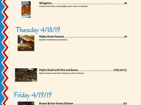 Hmmm Yummy 4/17-4/19 Weekly Menu