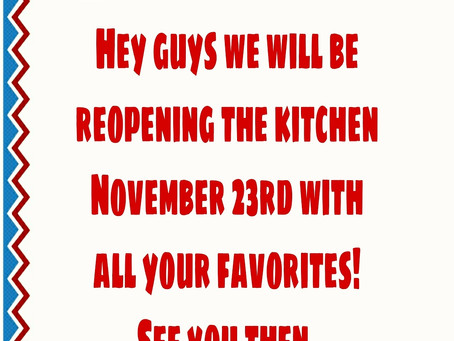 We will be back November 23rd