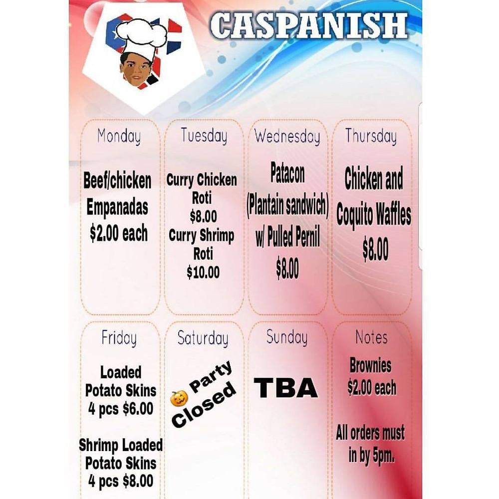 10/23 - 10/29/17 Weekly Caspanish Menu