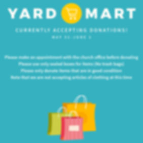 Yard Mart with shopping bags at the bott