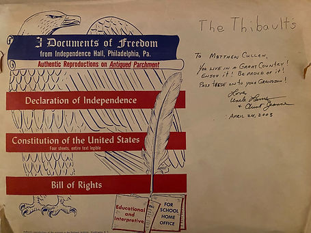 Envelope containing reproductions of U.S. founding documents