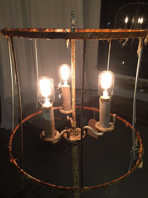 Vintage Floor Lamp with Cast Iron Fluted Base