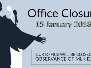 Office Closed Monday, 1/15/18