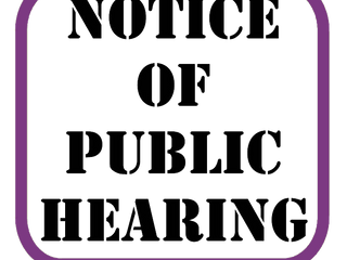 Notice of Public Hearing Tuesday, July 24, 6:00 pm
