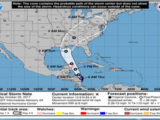 Thursday 10.5.17 Tropical Update: Tropical Storm Nate