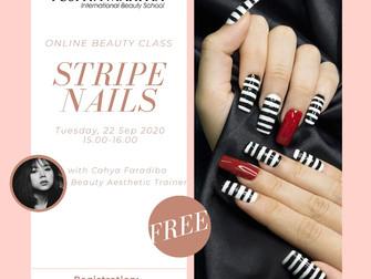 Stripe Nails Online Beauty Class FREE