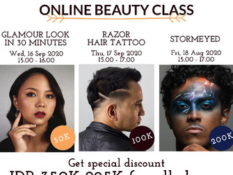 Get special discount if you register for 3 Online Beauty Classes!