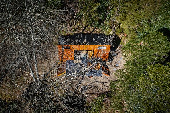 drone footage of eureka tiny home