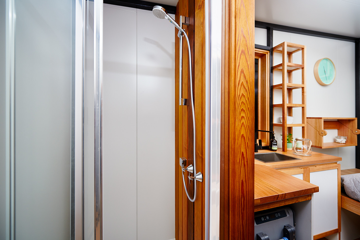 shower basin in tiny house