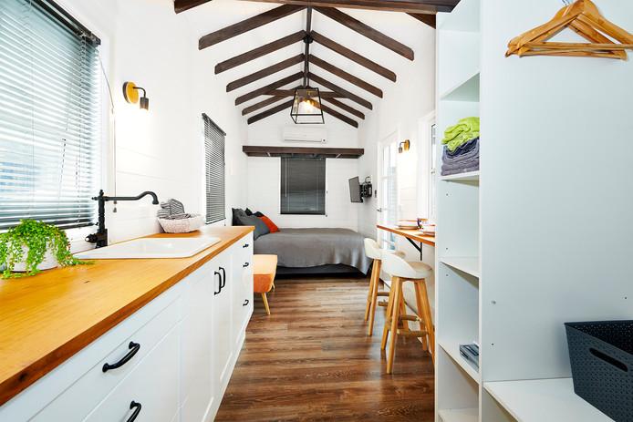 beautiful interior shot of luxury tiny house
