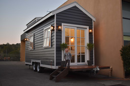 Hillside Tiny house in victoria at twilight