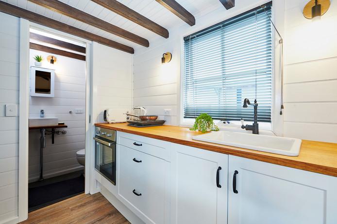 kitchen window design and bench