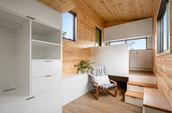 timber space with stairs to kitchen