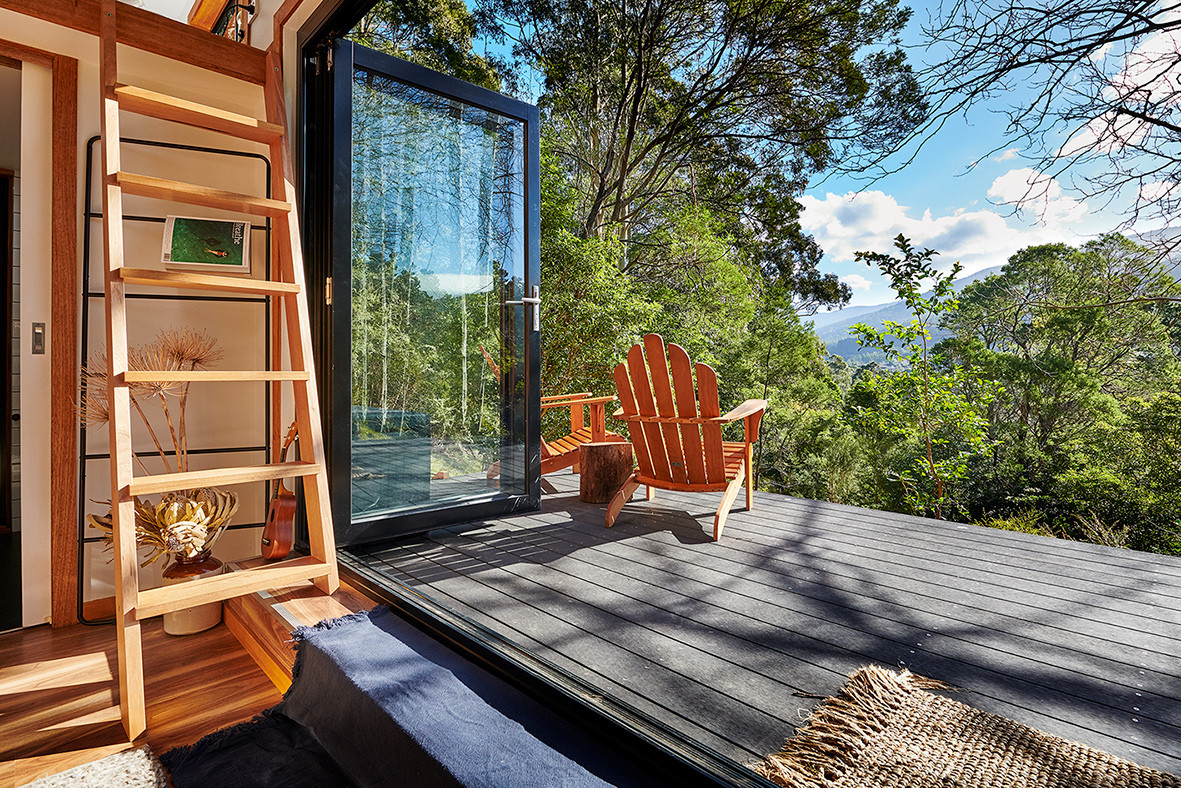 deck and tiny house relax