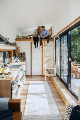 couple living in tiny house