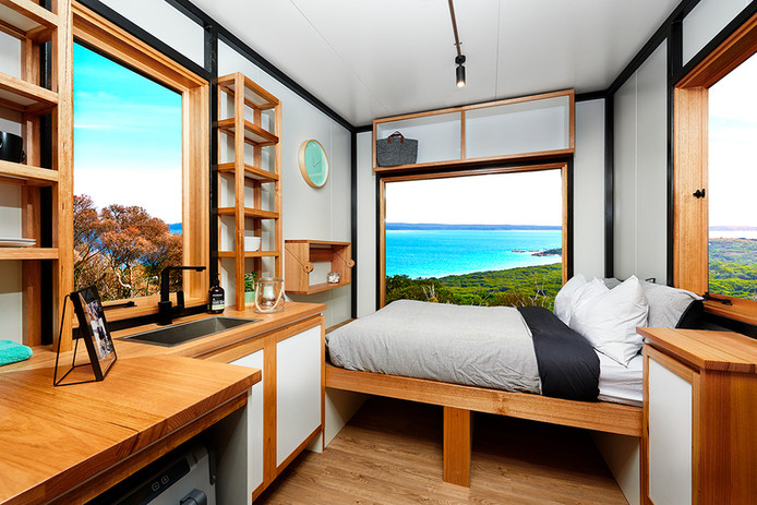 beach view tiny home industrial look