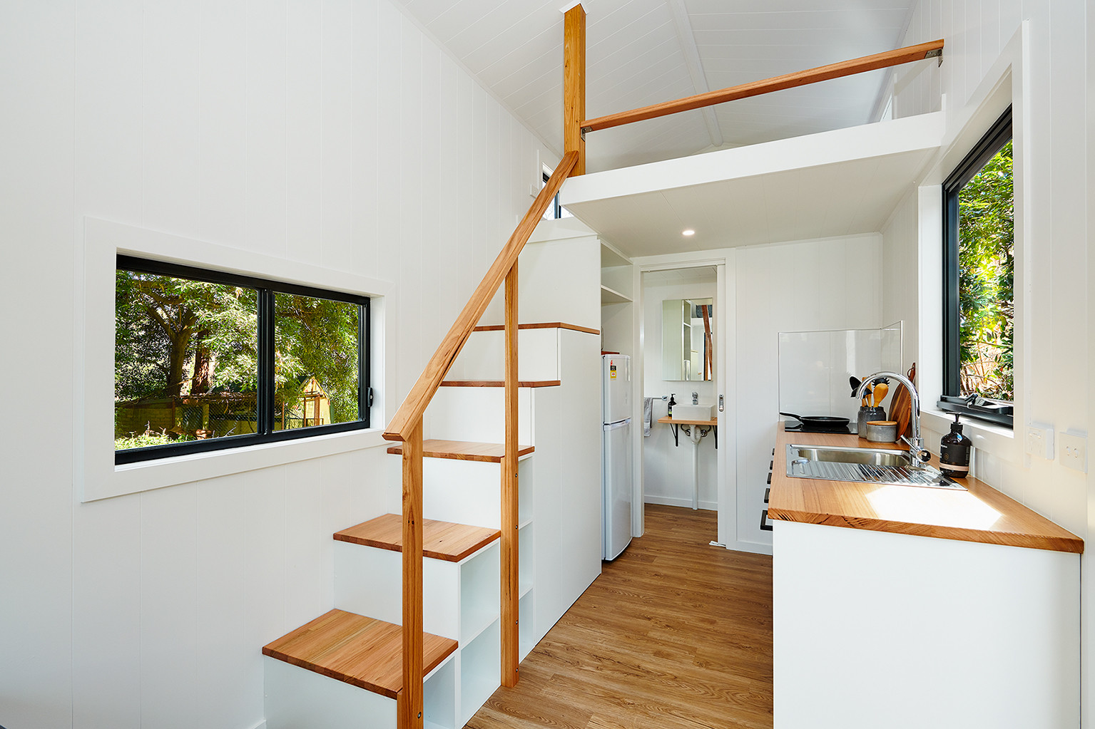 stairs leading up to tiny home