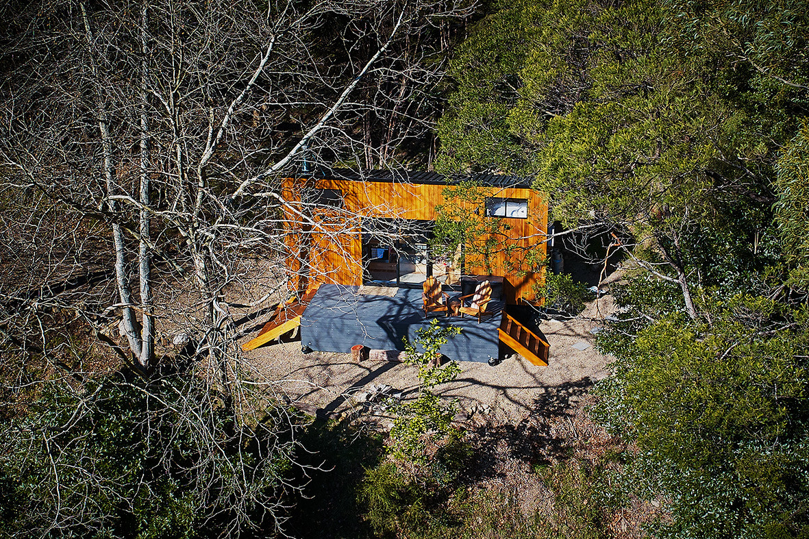aerial view of tiny house