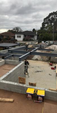 lower garage level steel
