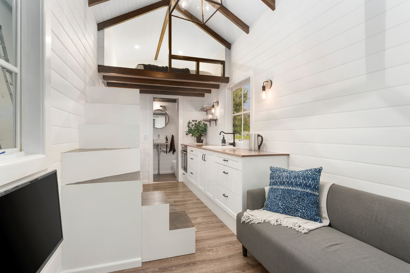 inside of tiny home with beautiful features