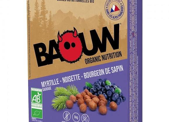 BAOUW I Pack 3 Barres Énergétiques Bio MYRTILLE – NOISETTE – BOURGEON DE SAPIN