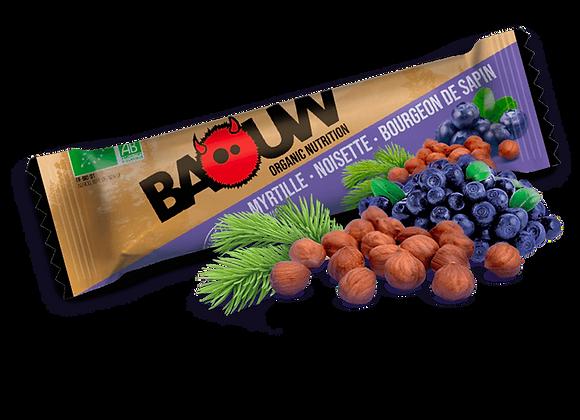 BAOUW I Barre Énergétique Bio MYRTILLE – NOISETTE – BOURGEON DE SAPIN