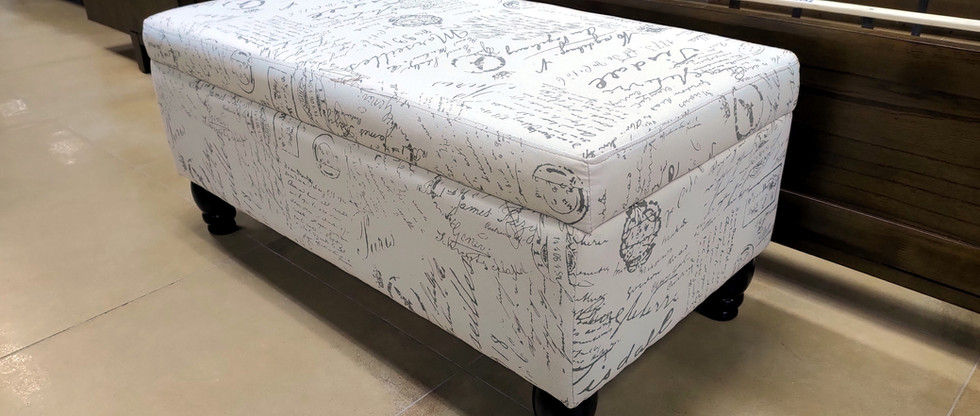 Storage Bench with French Script Design